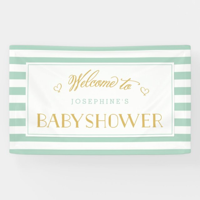 Mint Green Stripes with Gold Baby Shower Banner