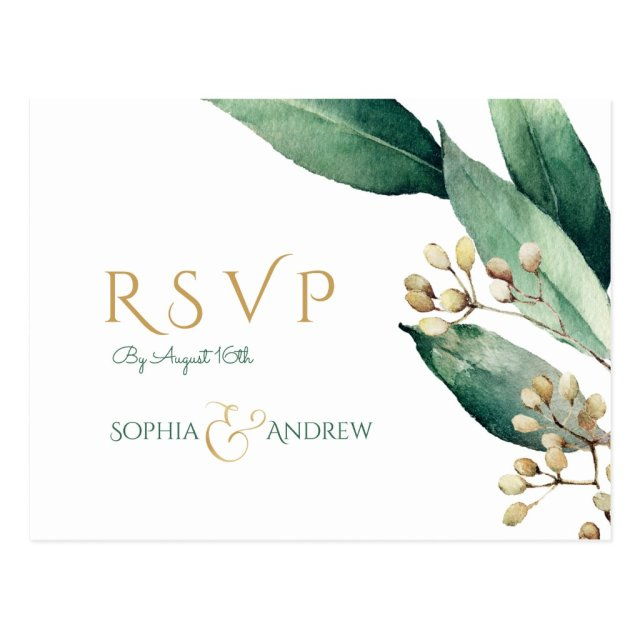 Modern botanical greenery rustic wedding RSVP