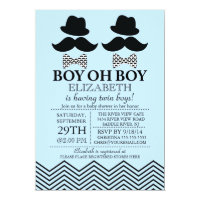Modern Boy Little Man Mustache TWINS Baby Shower Card