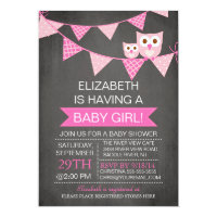 Modern Chalkboard Bunting Owl GIRL Baby Shower Card