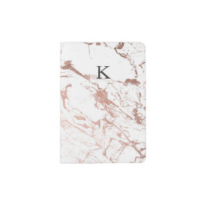 Modern chic faux rose gold white marble passport holder