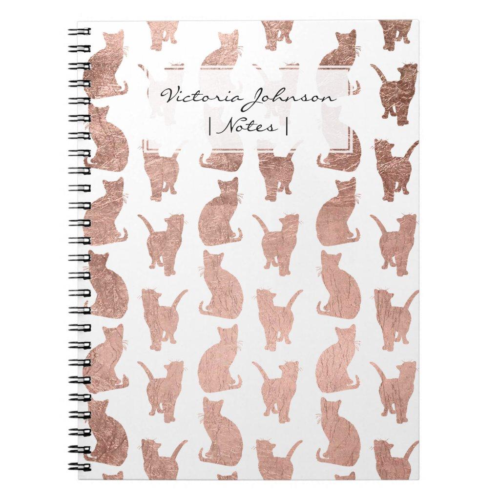 Modern elegant rose gold cats pattern notebook