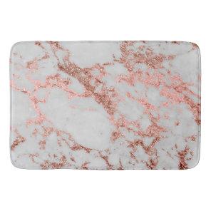 Modern faux rose gold glitter marble texture image bath mat