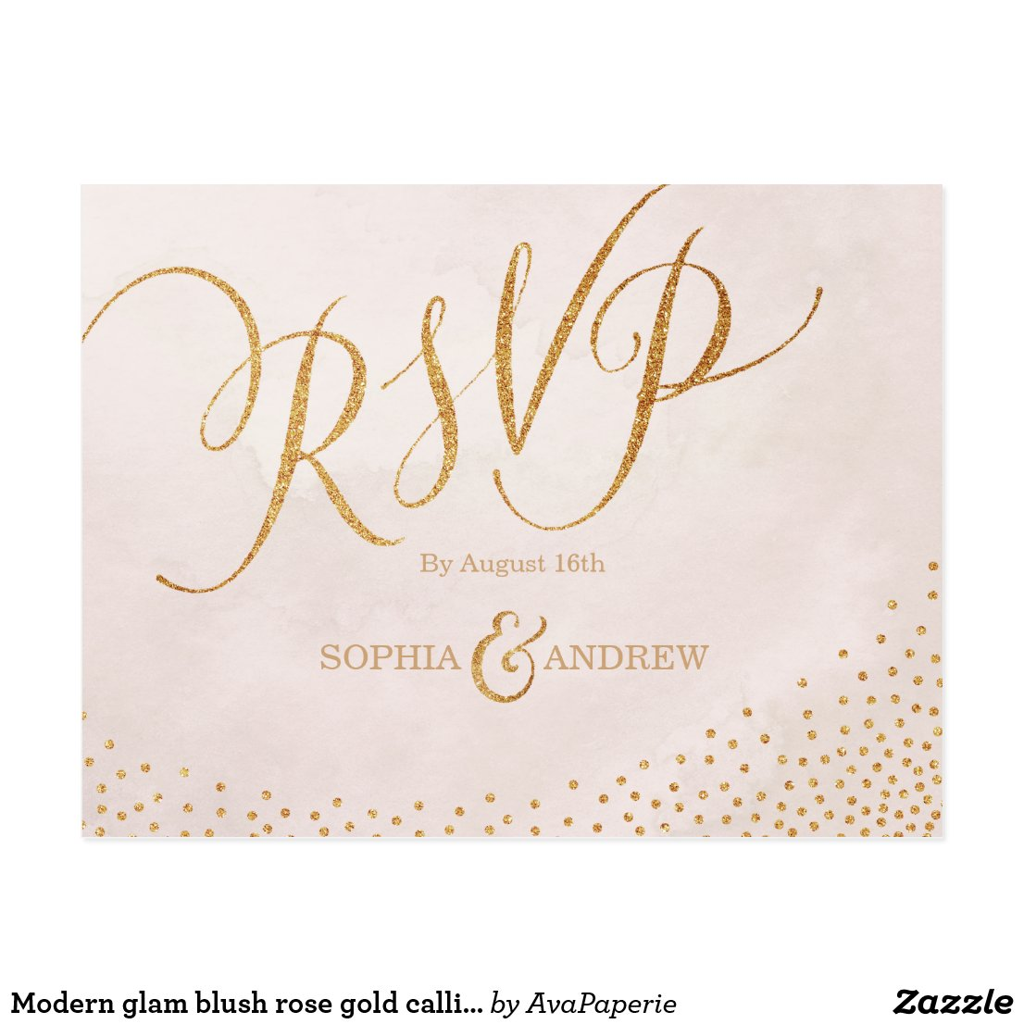 Modern glam blush rose gold calligraphy RSVP