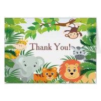 Modern Jungle Safari Baby Shower Thank You Stationery Note Card