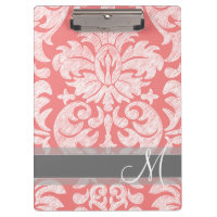 Modern Lace Damask Pattern - Coral and Gray Clipboard