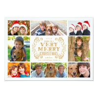 Modern Merry Christmas Collage Holidays Photo Card