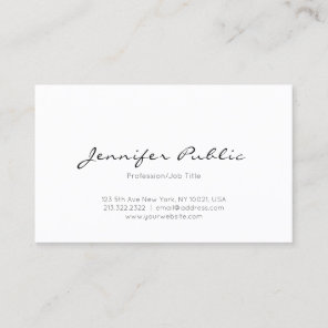 Modern Minimalist Elegant Professional Clean Plain Business Card