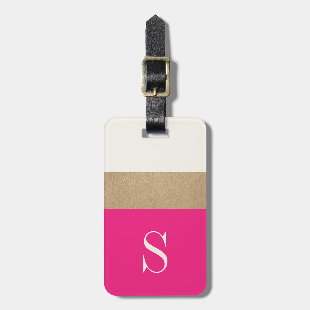 Modern Monogram Hot Pink Gold Striped Luggage Tag