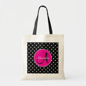 Modern polka dot monogram initial name pattern tote bag