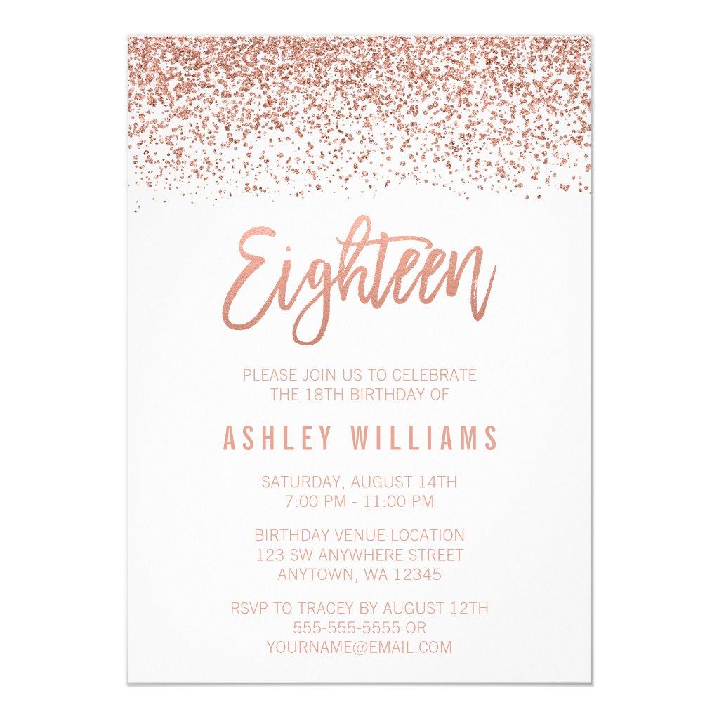 Modern Rose Gold Faux Glitter 18th Birthday