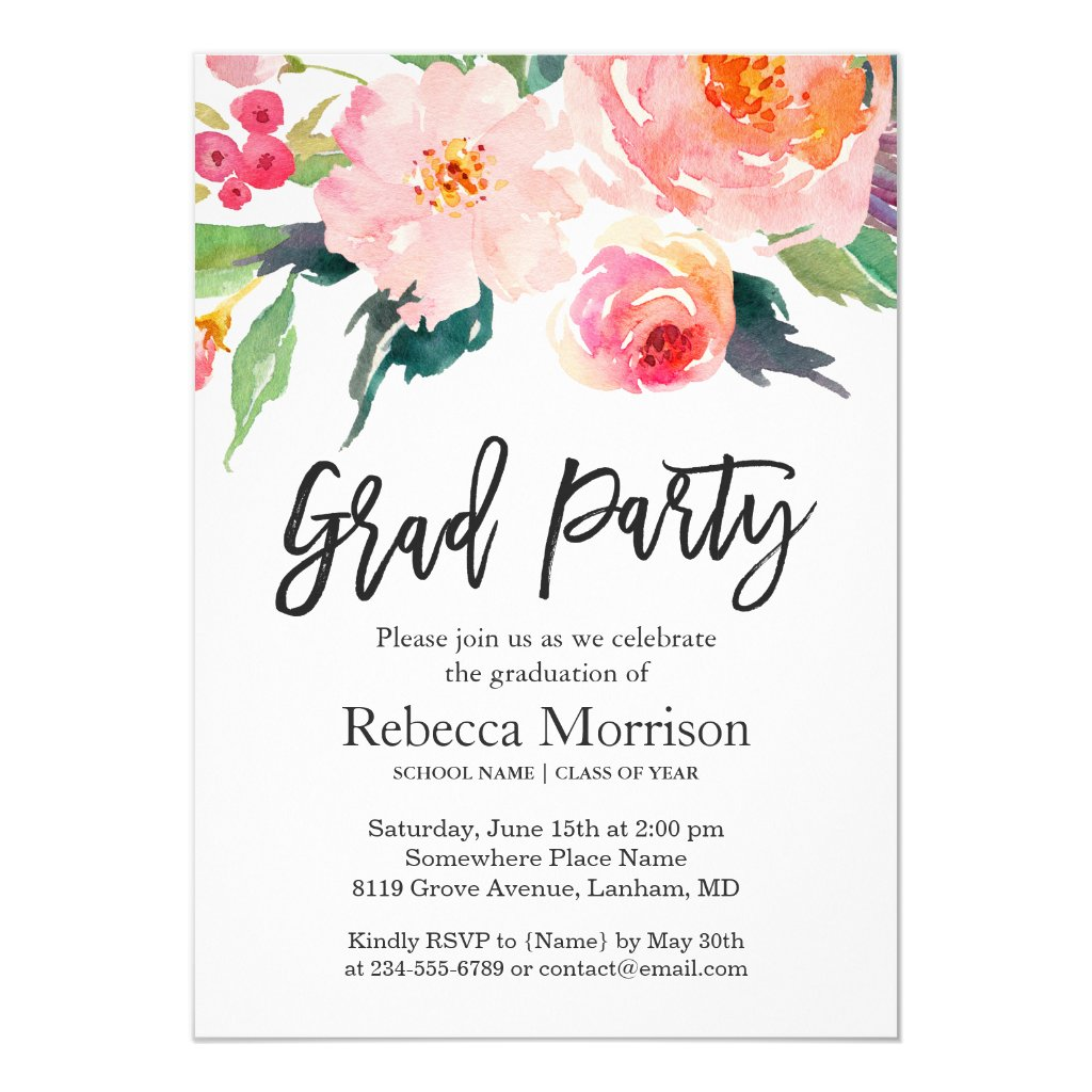 Watercolor Floral Graduation Party Card