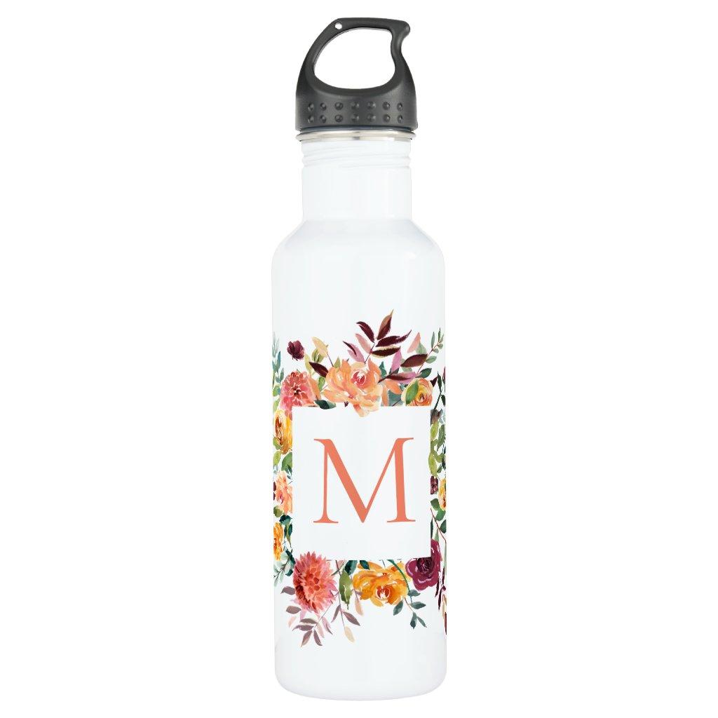 Modern Watercolor Floral Monogram Water Bottle