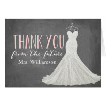 Modern Wedding Dress | Bridal Shower Thank You Stationery Note Card