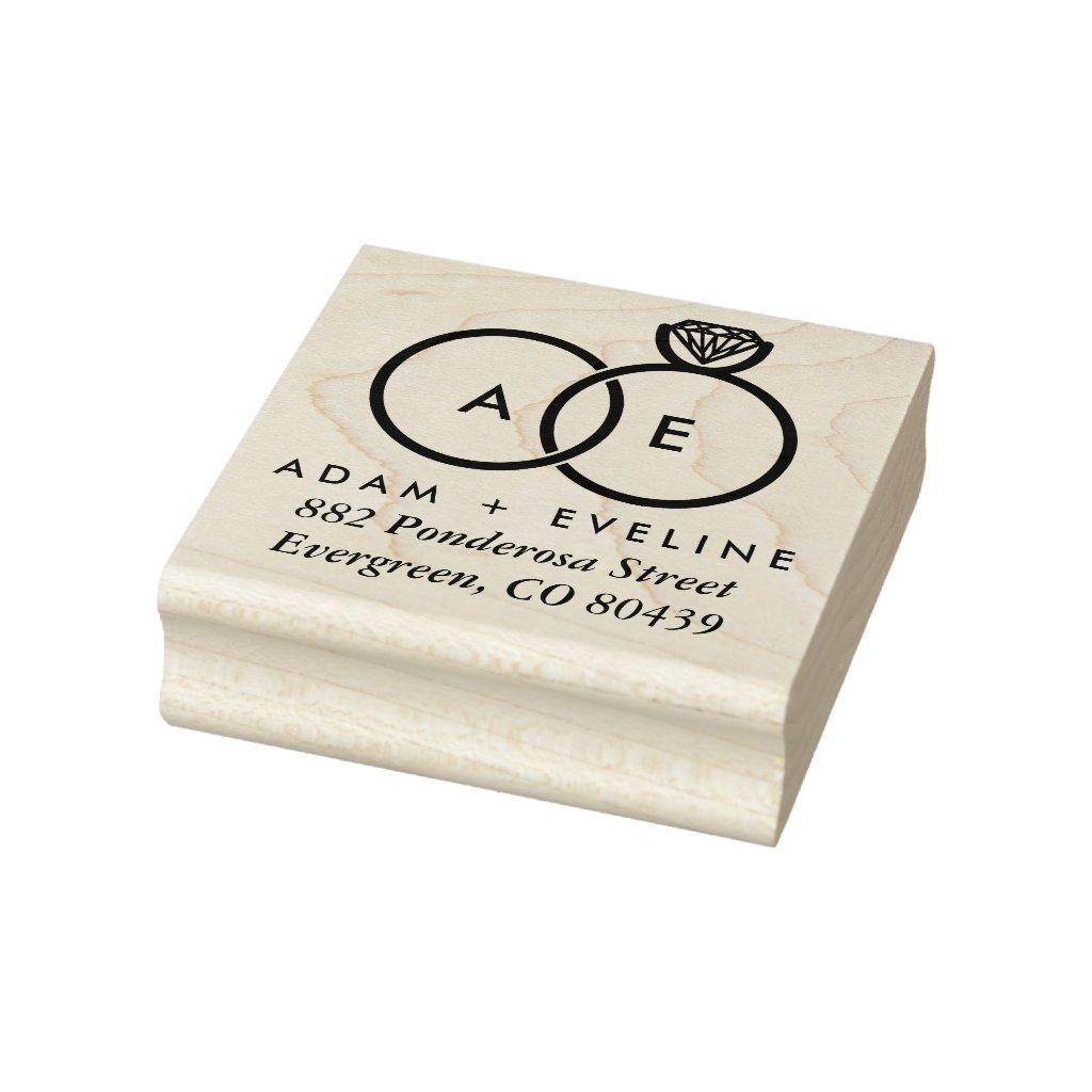 Modern Wedding Ring Monogram Address Ink Stamp