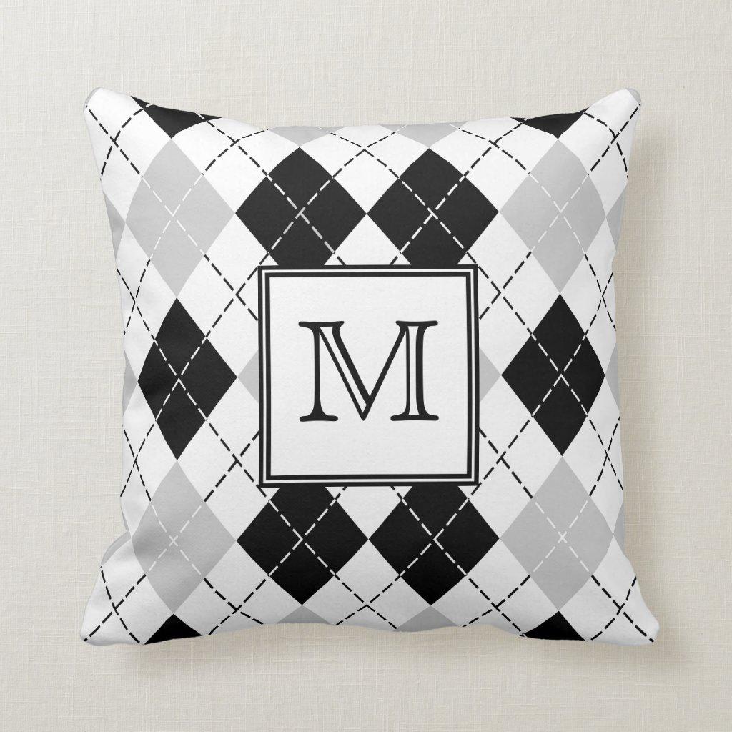 Monogram Black White and Grey Argyle Throw Pillow