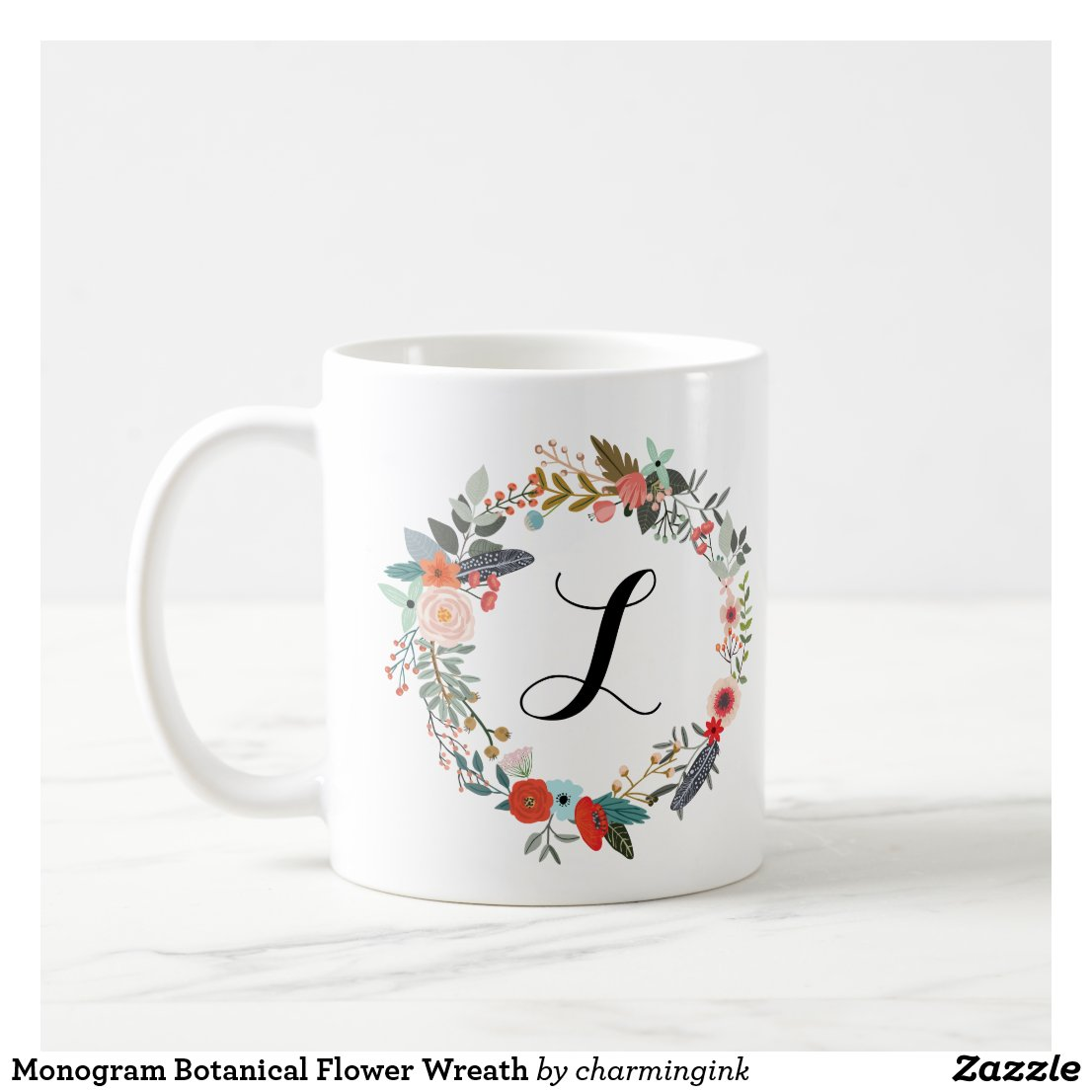 Monogram Botanical Flower Wreath Mug