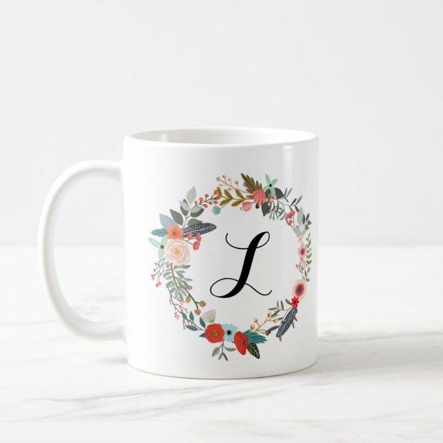 Monogram Botanical Flower Wreath Mug