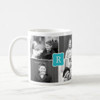 Monogram Collage Custom Photo Mug -  Turquoise