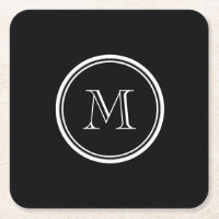 Monogram Initial Black High End Colored Square Paper Coaster