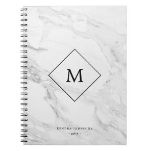 Monogram modern marble notebook