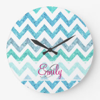 Monogram Summer Sea Teal Turquoise Glitter Chevron Large Clock