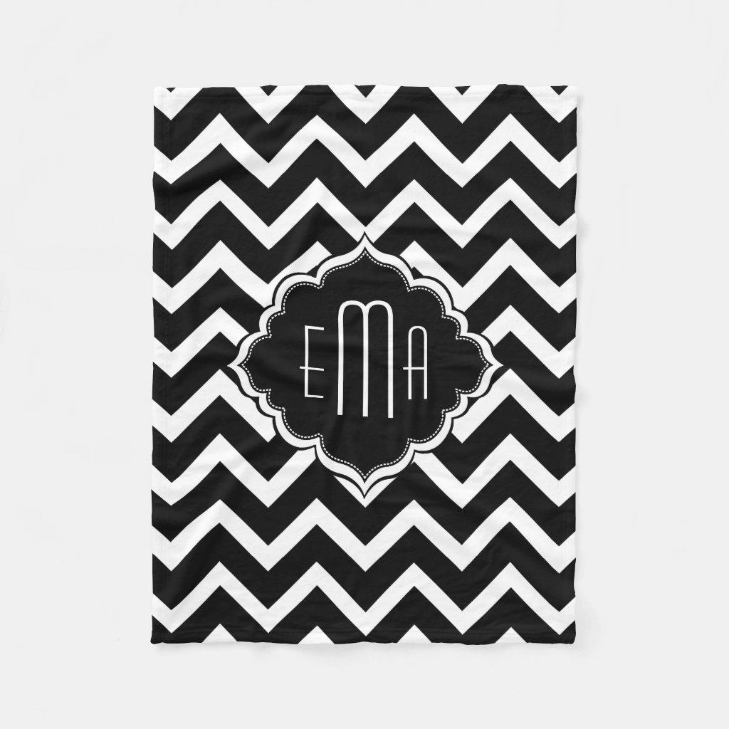 Monogramed Black & White Geometric Zigzag Chevron Fleece Blanket