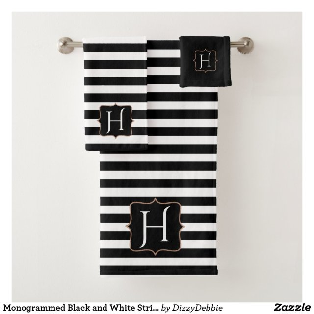Monogrammed Black and White Striped Bath Towel Set