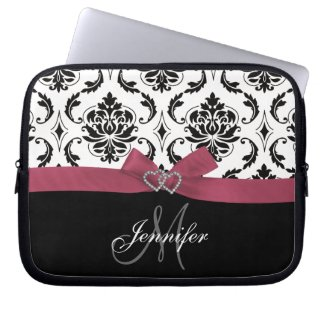 Monogrammed Black Damask Pink Bow Diamond Hearts