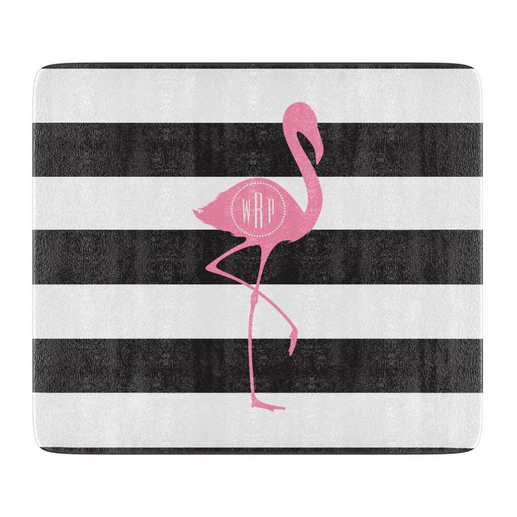 Monogrammed Pink Flamingo Stripes Cutting Board