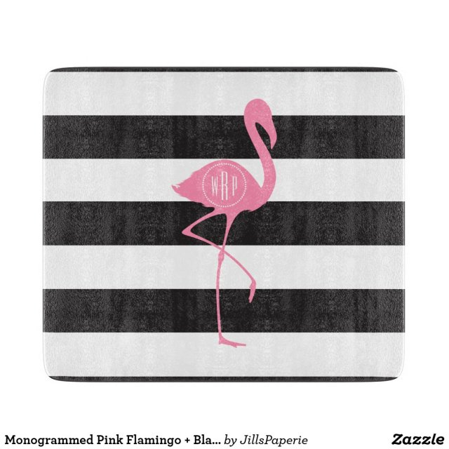 Monogrammed Pink Flamingo Stripes Cutting Board