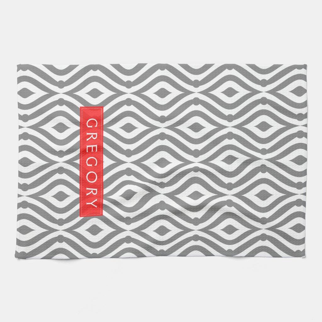 Monogrammed Pattern Tea Towel