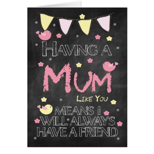 Mum Birthday Chalkboard Card