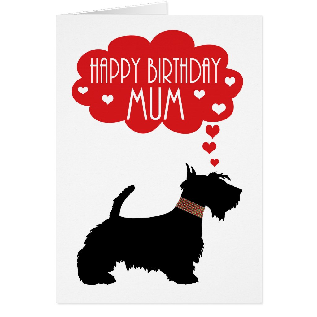 Mum Birthday With Silhouette Scottish Terrier