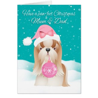 Mum & Dad Shih Tzu Dog Christmas Greeting Card