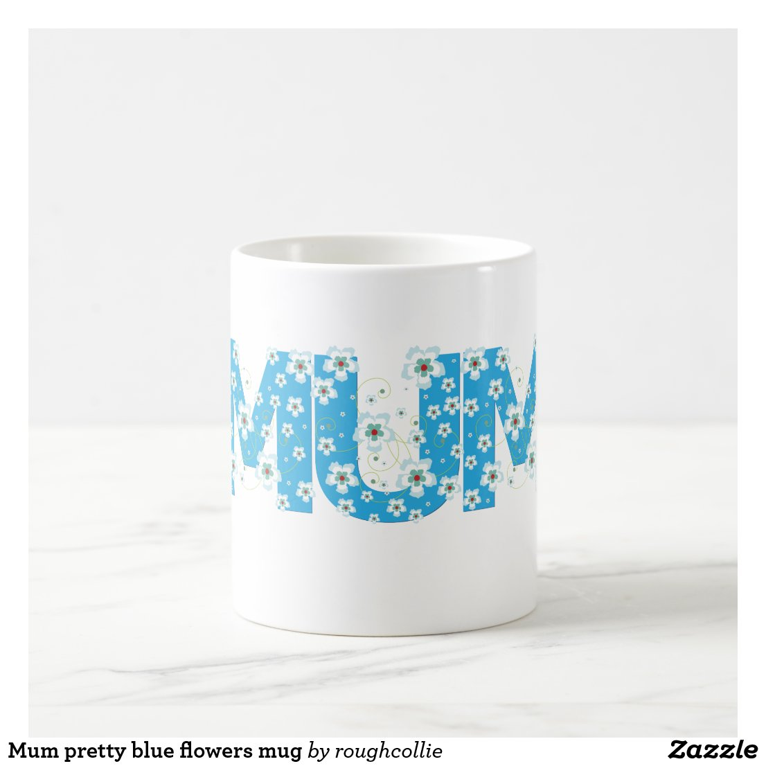 Mum pretty blue flowers mug