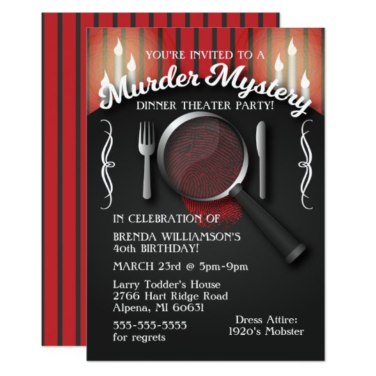 Murder Mystery Dinner Theatre Party Invitation