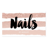Nails artist modern typography rose gold stripes business card