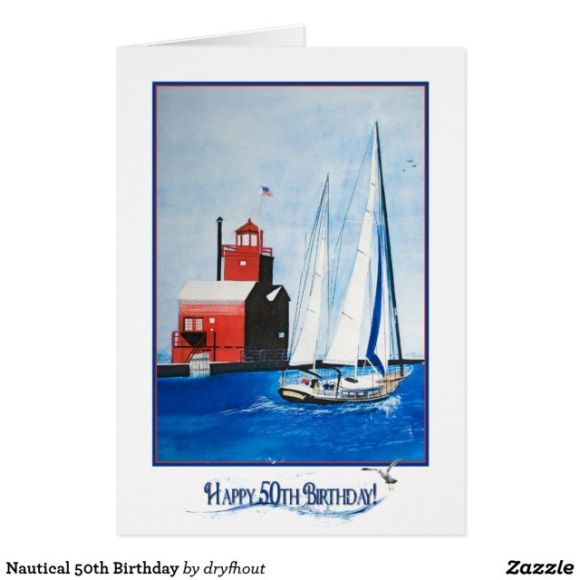 Nautical 50th Birthday Card