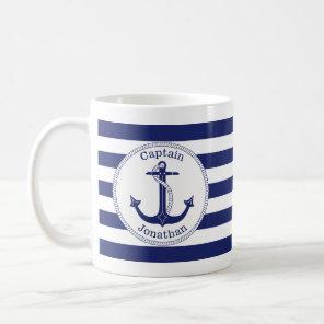 Nautical Anchor Navy Blue Captain Personalised Coffee Mug