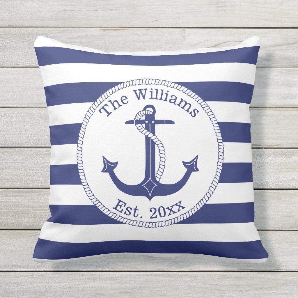 Nautical Anchor Navy Blue Stripes Family Name Cushion