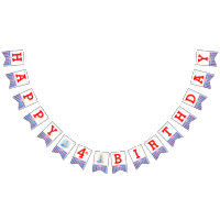 Nautical Happy Birthday kids age bunting Bunting Flags