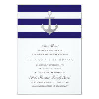 Nautical Navy Baby Shower | Silver Card
