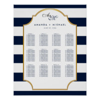 Nautical Navy | White Wedding Seating Chart Poster