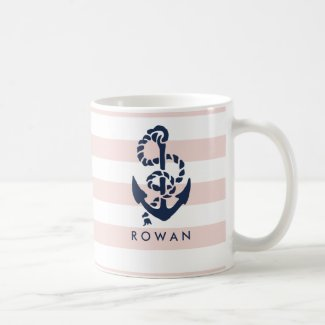 Nautical Pink Stripe & Navy Anchor Personalised Mug