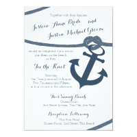 Nautical Rope and Anchor Wedding Card