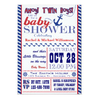 Nautical Twin Baby Boy Shower Invitation