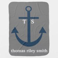 Navy Blue and Grey Anchor Monogram Nursery Blanket Baby Blanket