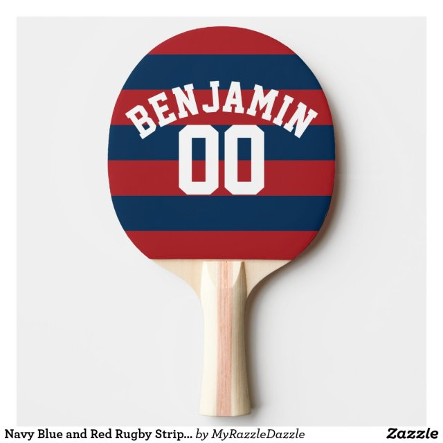 Navy Blue and Red Rugby Stripes Name Number Ping Pong Paddle