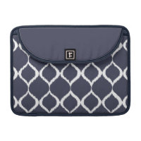 Navy Blue Geometric Ikat Tribal Print Pattern MacBook Pro Sleeves
